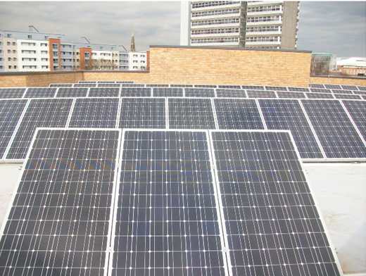Medmscale solar PV on flat roof