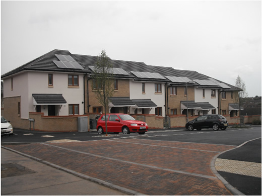 Solar PV installed on housing development as part of build