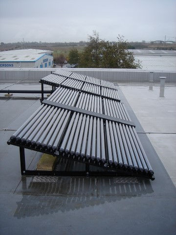 Commercial Solar Thermal Panels on a warehouse in southend Essex