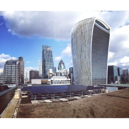 Solar Panels below Walkie-Talkie building in London
