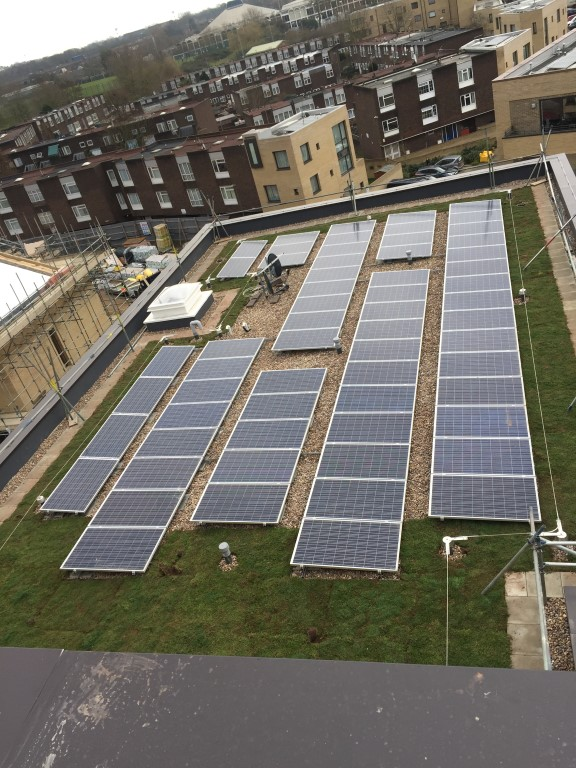 Commercial Solar PV on flat roof of block