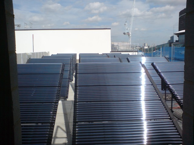 Large scale commercial solar thermal system in the south east